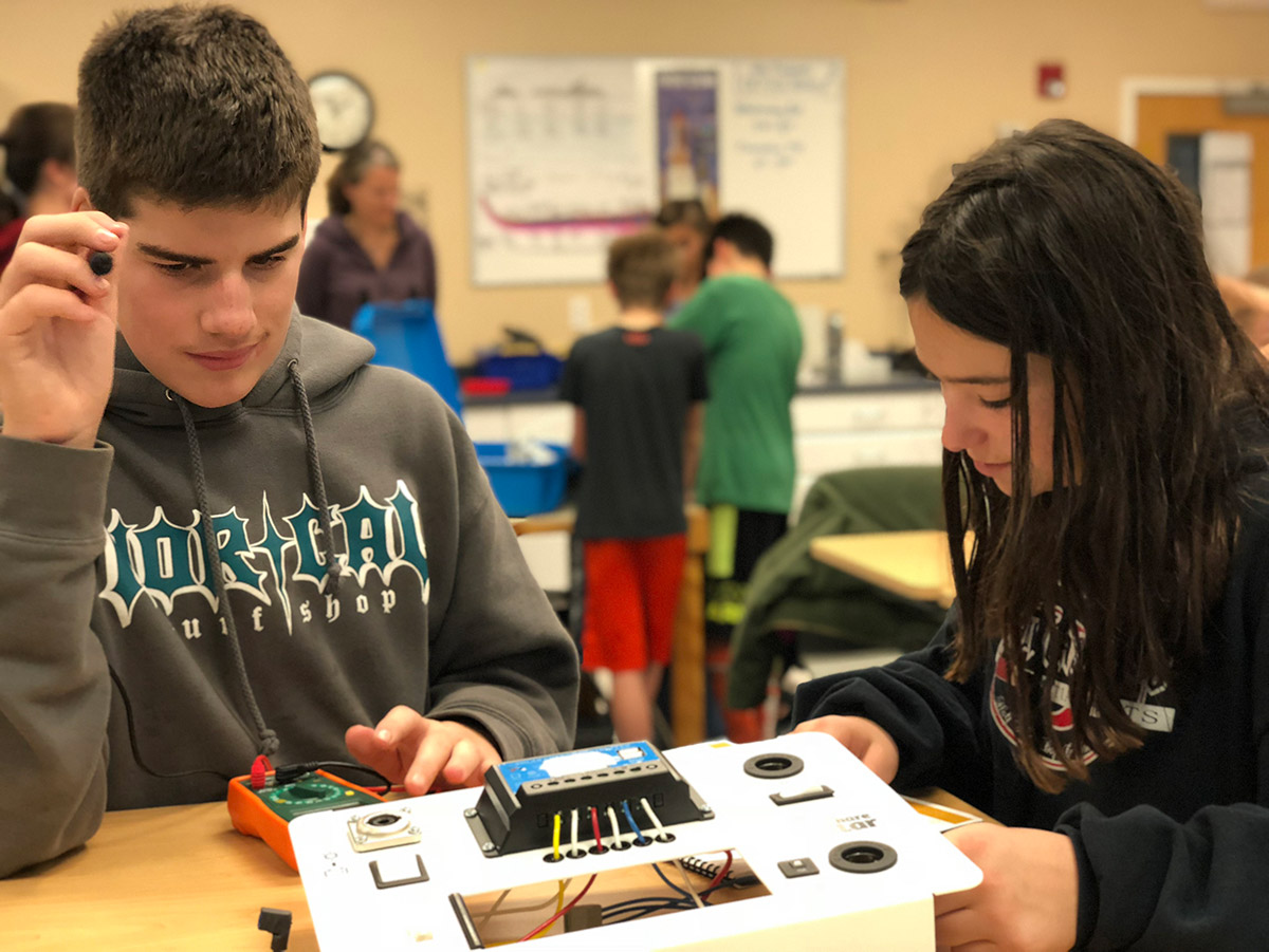 Sea Crest sixth graders at work on their Solar Suitcase project