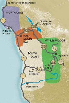 Half Moon Bay coastside regional map and guide